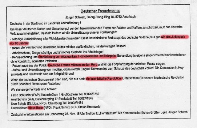 """Klaus Beier unterstützte 1991 den""""Deutschen Freundeskreises"""", der in seinen Forderungen deutliche Bezüge zum historischen Nationalsozialismus erkennen lässt. (Faksimile*)"""