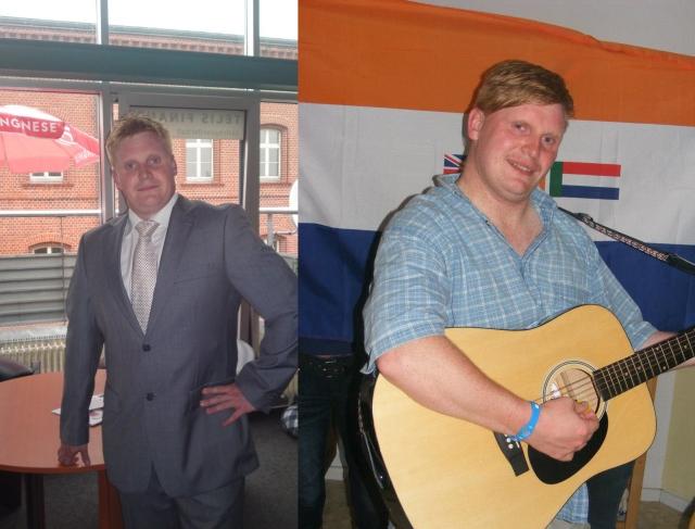Ob im Büro mit Anzug oder mit Gitarre vor der Fahne des südafrikanischen Apartheidsregimes: Björn Brusak aus Frankfurt (Oder).