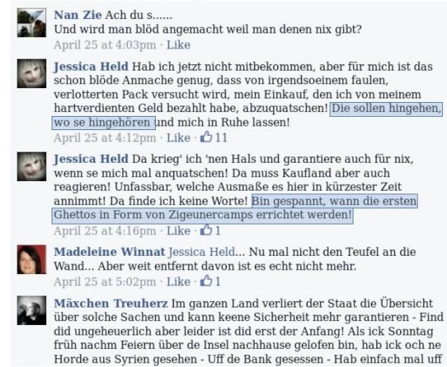 """Auszüge aus dem Kommentarbereich der Facebook-Gruppe """"Bürgerwehr Eisenhüttenstadt"""". Von rassistischen Ängsten bis ... (screenshot: facebook)"""