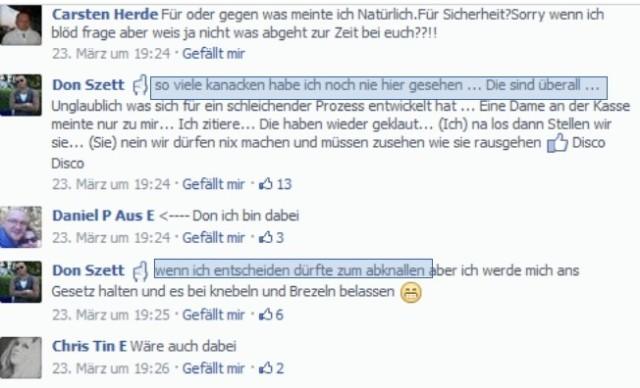 ... zu Gewaltphantasien. Es wird kein Blatt vor den Mund genommen. (screenshot: facebook)