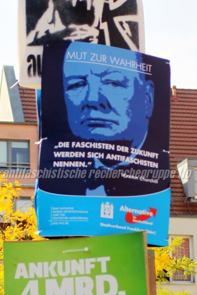 Mut zur Wahrheit? Mit einem falsch wiedergegebenen  Zitat Winston Churchhills diskreditiert die Frankfurter AfD das Engagement von Antifaschist*innen.  (Foto: pressedienst frankfurt (oder))